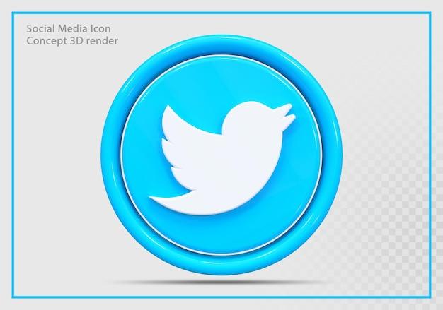 Ikona twittera 3d render nowoczesny