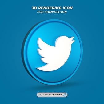 Ikona twittera mediów społecznościowych w renderowaniu 3d
