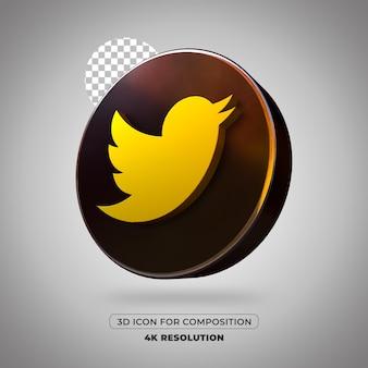 Ikona twittera renderowania 3d na białym tle