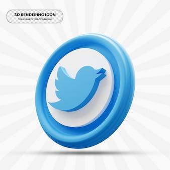 Ikona twittera w renderowaniu 3d