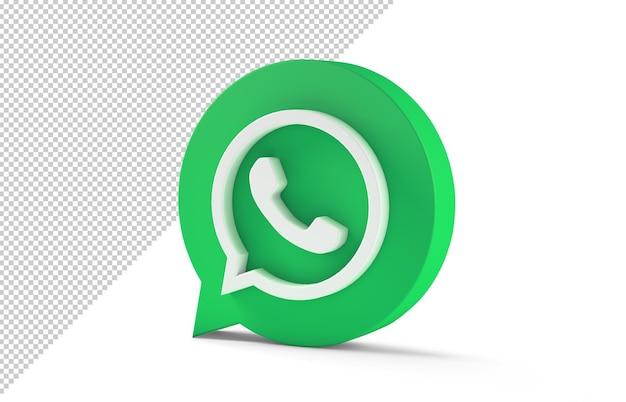 Ikona whatsapp na białym tle w renderowaniu 3d