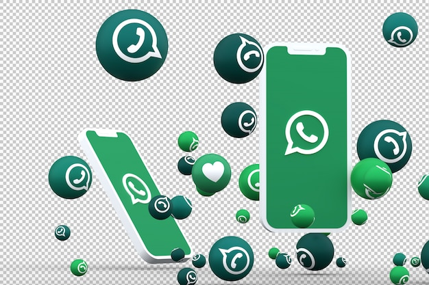 Ikona whatsapp na smartfonach z ekranem i reakcje whatsapp