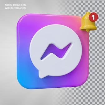 Ikona wiadomości 3d koncepcja z powiadomieniem dzwonkiem