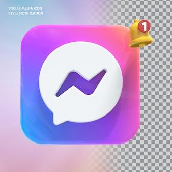 Ikona wiadomości w mediach społecznościowych z powiadomieniem dzwonkiem 3d