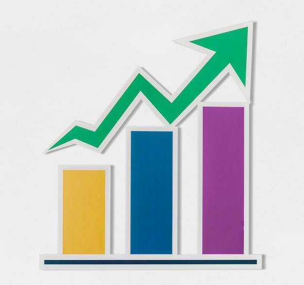 Ikona wykres słupkowy wzrostu biznesu