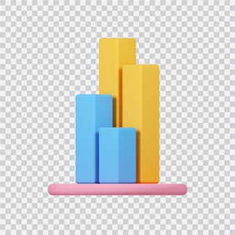 Ikona wykresu na białym 3d renderowanego obrazu