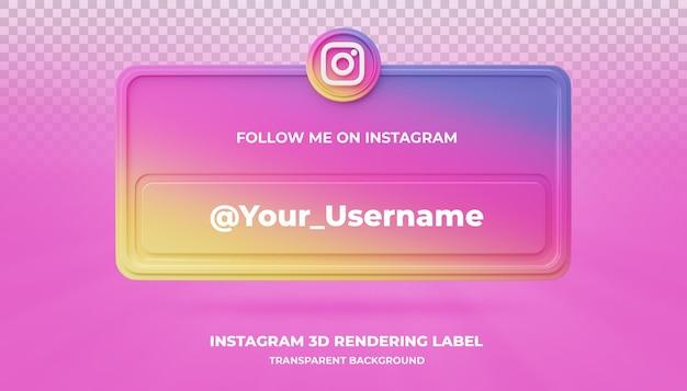 Ikona wyszukiwania transparentu instagram 3d renderowania transparent na białym tle