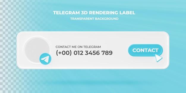 Ikona wyszukiwania transparentu telegram 3d renderowania transparent na białym tle