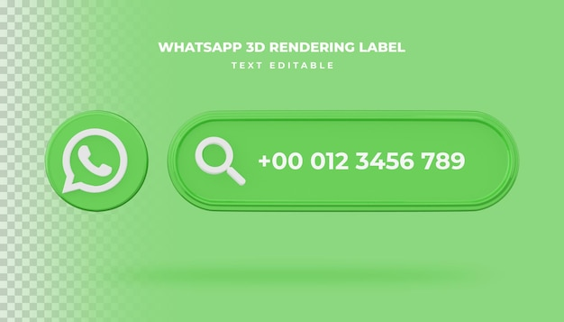 Ikona wyszukiwania transparentu whatsapp 3d renderowania transparent na białym tle