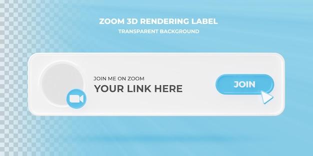 Ikona wyszukiwania transparentu zoom 3d renderowania transparent na białym tle