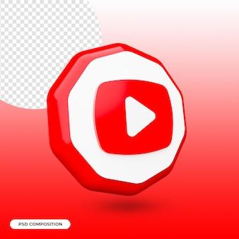 Ikona youtube na białym tle w renderowaniu 3d
