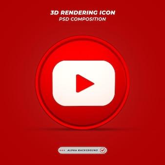 Ikona youtube w mediach społecznościowych w renderowaniu 3d