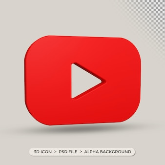 Ikona youtube w renderowaniu 3d