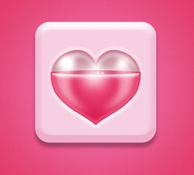 Ikona z serca różowy romantyczny psd