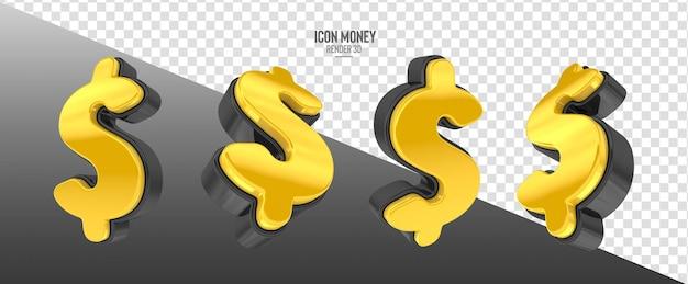 Ikona z symbolem pieniędzy w realistycznym renderowaniu 3d