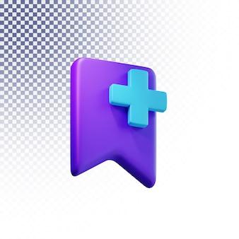 Ikona zakładki wysokiej jakości 3d renderowana na białym tle koncepcja