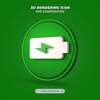 Ikona zasilania lub baterii w renderowaniu 3d