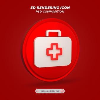 Ikona zestawu medycznego w renderowaniu 3d