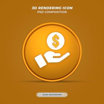 Ikona znak dolara dochodu w renderowaniu 3d