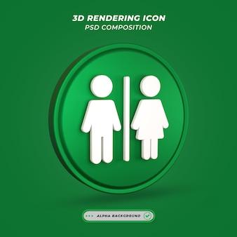Ikona znak męskiej żeńskiej w renderowaniu 3d
