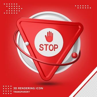 Ikona znaku stop w renderowaniu 3d na białym tle
