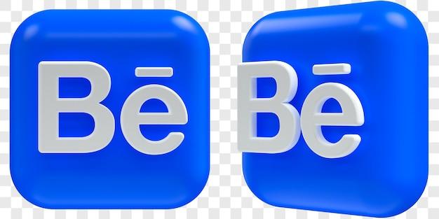 Ikony 3d behance w dwóch kątach z przodu i trzech czwartych na odosobnionych ilustracjach