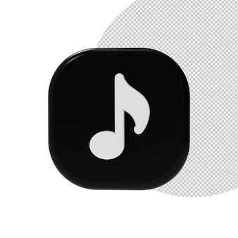 Ikony muzyki w renderowaniu 3d na białym tle