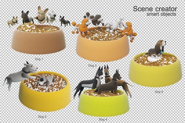 Ilustracja 3d aktywności psa na białym tle