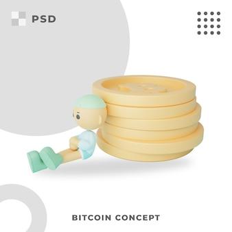 Ilustracja 3d bitcoin concept
