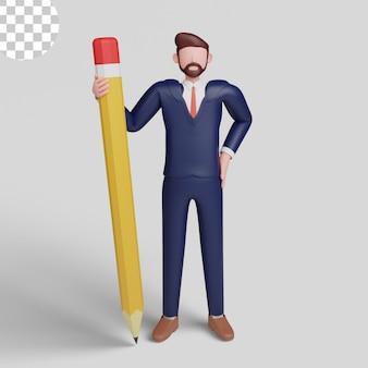 Ilustracja 3d. biznesmen trzymający ołówek w mundurze biurowym