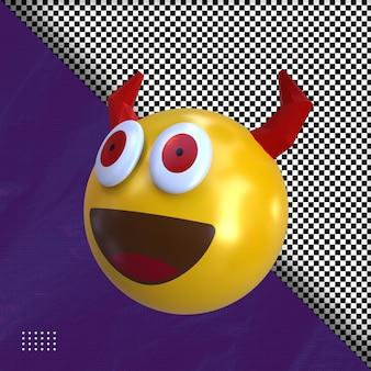 Ilustracja 3d diabeł emotikon