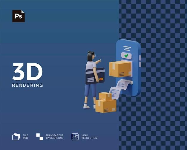 Ilustracja 3d e-commerce zakupy