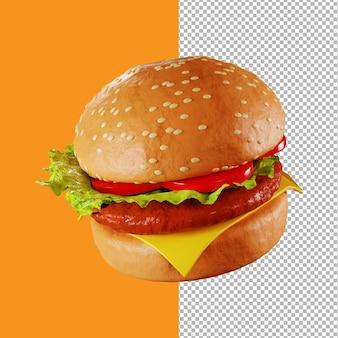 Ilustracja 3d hamburgera