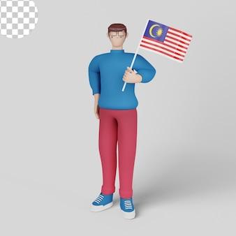 Ilustracja 3d. hari merdeka z mężczyzną trzymającym flagi