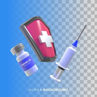 Ilustracja 3d. kampania szczepionki na koronawirusa