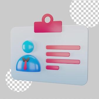 Ilustracja 3d koncepcja karty identyfikacyjnej