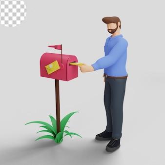 Ilustracja 3d. koncepcja skrzynki pocztowej dla strony docelowej