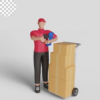 Ilustracja 3d kuriera skanującego przesyłkę. premium psd