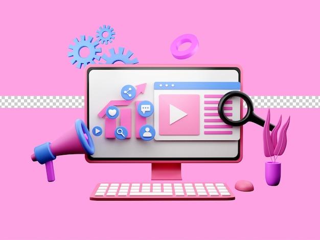 Ilustracja 3d marketingu cyfrowego lub reklamy online na stronę docelową