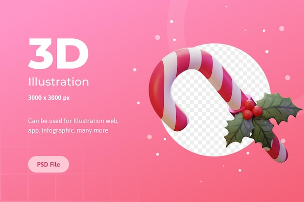 Ilustracja 3d merry christmas candy kwiat poinsecja dla aplikacji internetowej infografika reklamowa