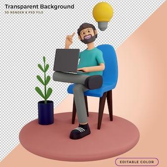 Ilustracja 3d mężczyzn z laptopami, siedzących w fotelach i tworzących nowe innowacyjne pomysły