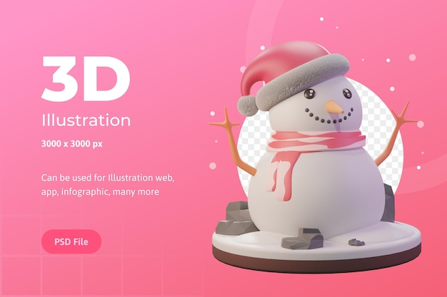 Ilustracja 3d, obiekt świąteczny, bałwan z czapką, do internetu, aplikacji, reklamy itp.
