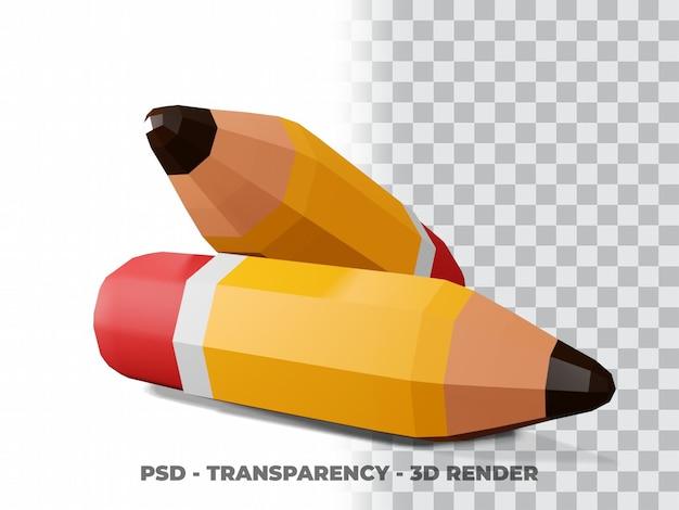Ilustracja 3d ołówkiem. koncepcja ikona obiektu edukacyjnego wyizolowana z tłem przezroczystości