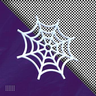 Ilustracja 3d pająk sieć na halloween premium psd
