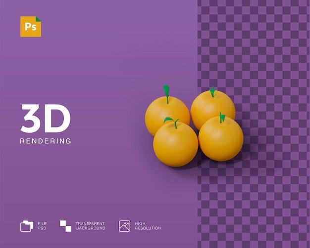 Ilustracja 3d pomarańczowy owoc