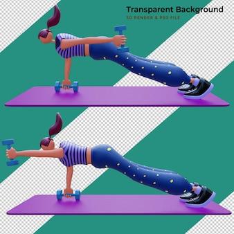 Ilustracja 3d. postać z kreskówki młoda dziewczyna. koncepcja sportu, jogi i fitness. dziewczyna robi ćwiczenia z hantlami.