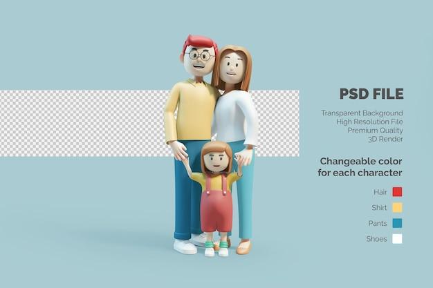 Ilustracja 3d postaci szczęśliwej rodziny