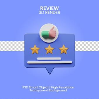 Ilustracja 3d recenzja na białym tle