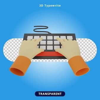 Ilustracja 3d renderowania maszyny do pisania