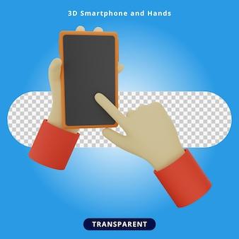 Ilustracja 3d renderowania smartfona i rąk